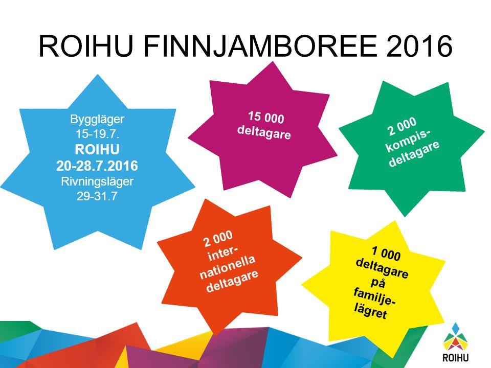 ROIHU FINNJAMBOREE 2016 Byggläger 15-19.7. ROIHU 20-28.7.2016 Rivningsläger 29-31.7 15 000 deltagare 2 000 inter- nationella deltagare 2 000 kompis- d