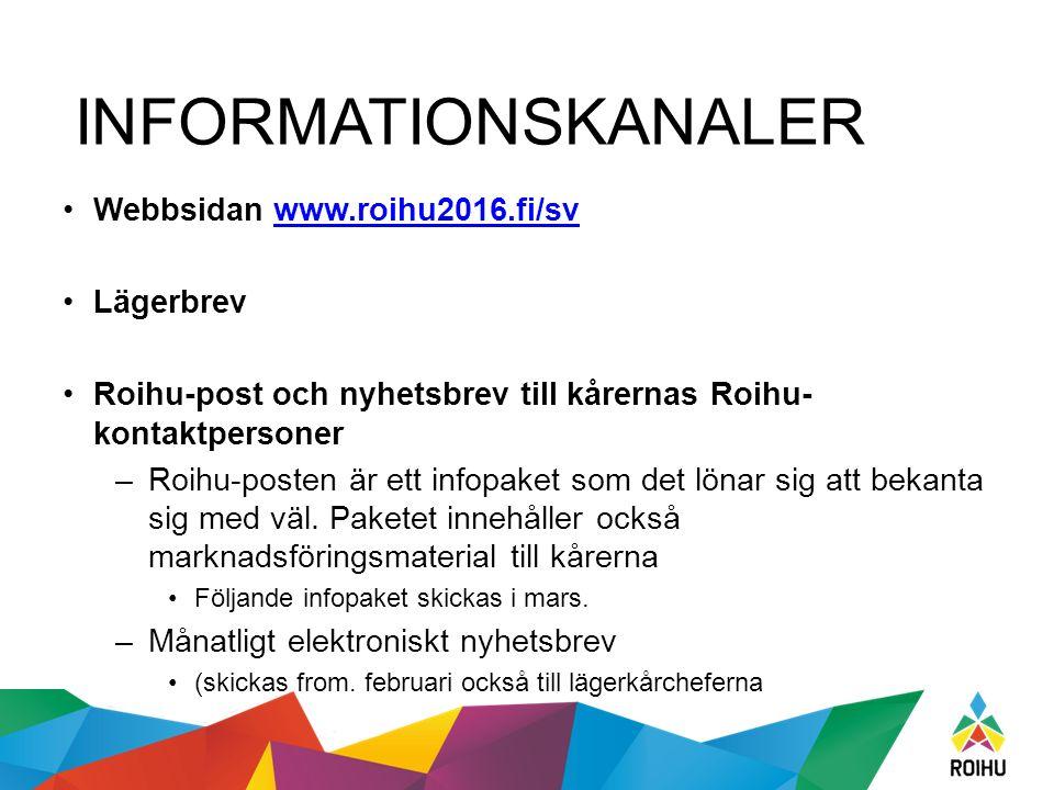 INFORMATIONSKANALER Webbsidan www.roihu2016.fi/svwww.roihu2016.fi/sv Lägerbrev Roihu-post och nyhetsbrev till kårernas Roihu- kontaktpersoner –Roihu-p