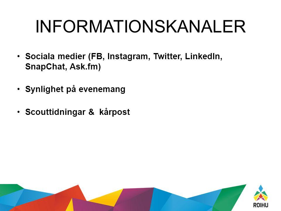 INFORMATIONSKANALER Sociala medier (FB, Instagram, Twitter, LinkedIn, SnapChat, Ask.fm) Synlighet på evenemang Scouttidningar & kårpost