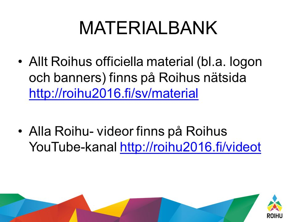MATERIALBANK Allt Roihus officiella material (bl.a.