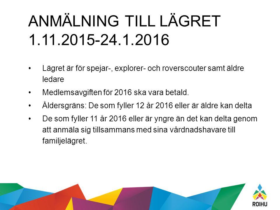 ANMÄLNING TILL LÄGRET 1.11.2015-24.1.2016 Lägret är för spejar-, explorer- och roverscouter samt äldre ledare Medlemsavgiften för 2016 ska vara betald