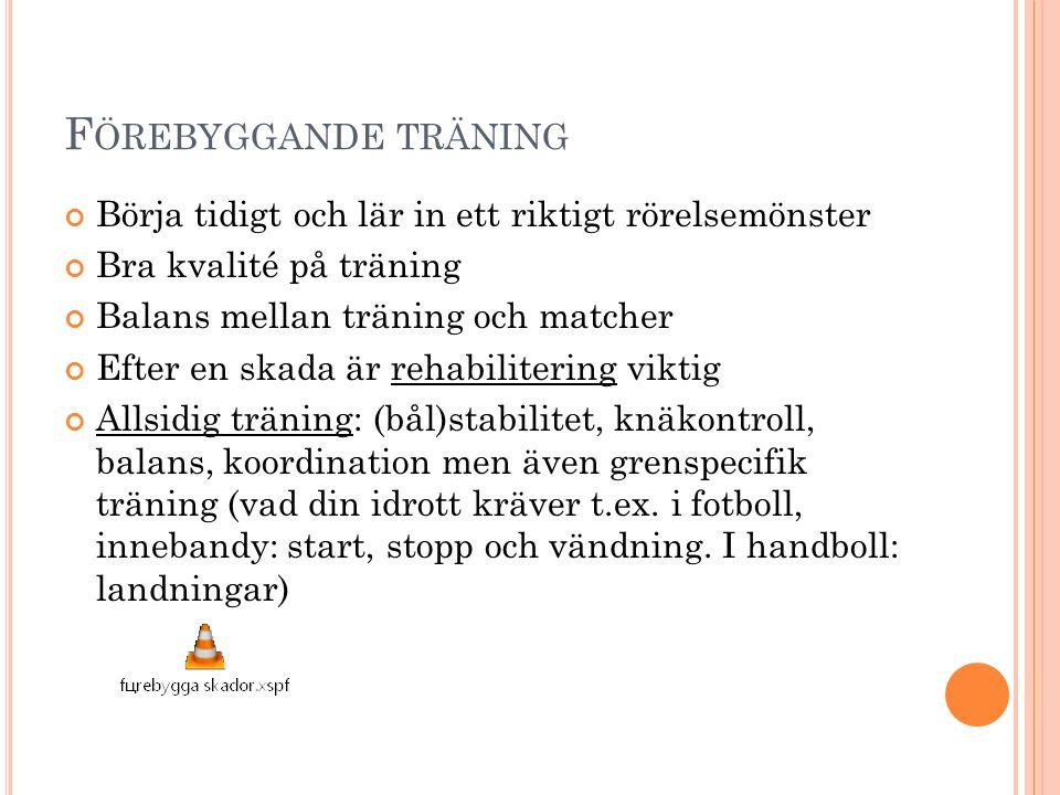 F ÖREBYGGANDE TRÄNING Börja tidigt och lär in ett riktigt rörelsemönster Bra kvalité på träning Balans mellan träning och matcher Efter en skada är rehabilitering viktig Allsidig träning: (bål)stabilitet, knäkontroll, balans, koordination men även grenspecifik träning (vad din idrott kräver t.ex.