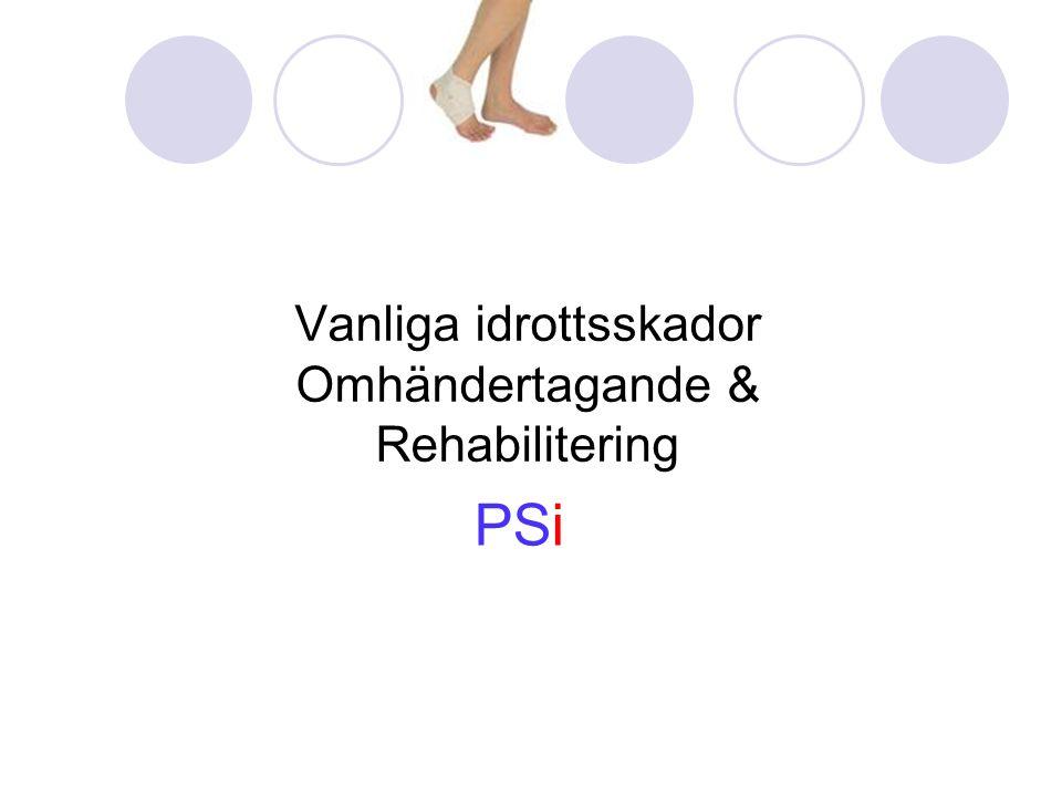 Vanliga idrottsskador Omhändertagande & Rehabilitering PSi