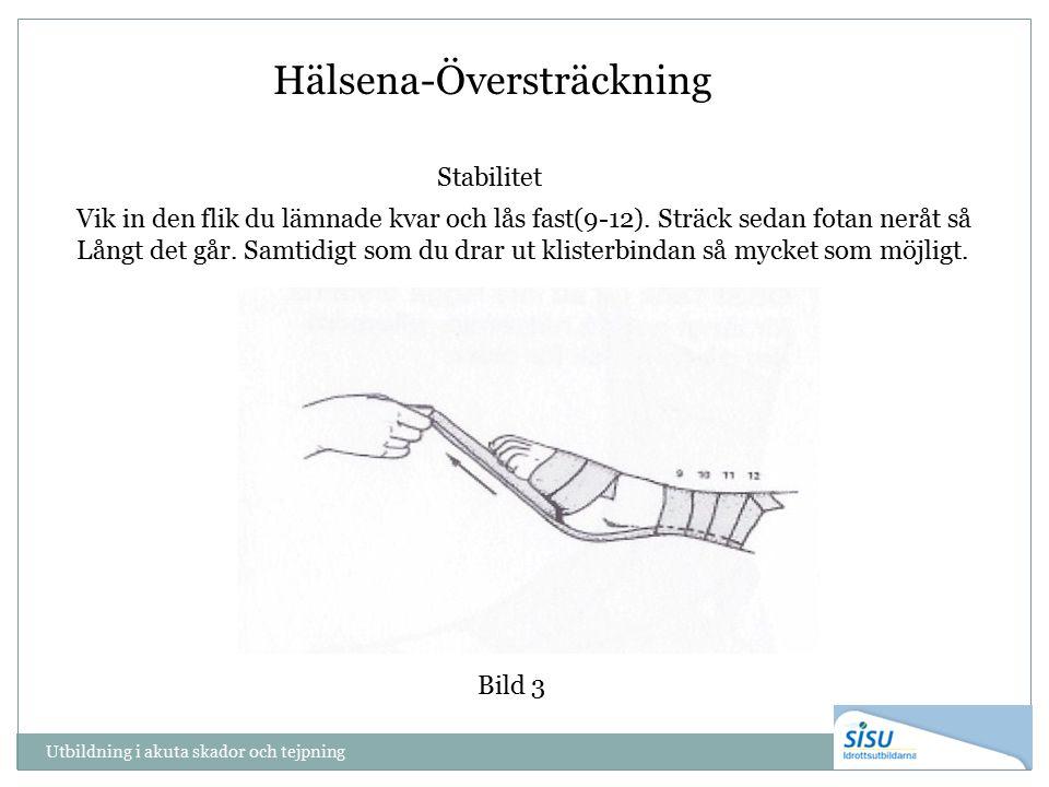 Utbildning i akuta skador och tejpning Bild 3 Hälsena-Översträckning Stabilitet Vik in den flik du lämnade kvar och lås fast(9-12). Sträck sedan fotan