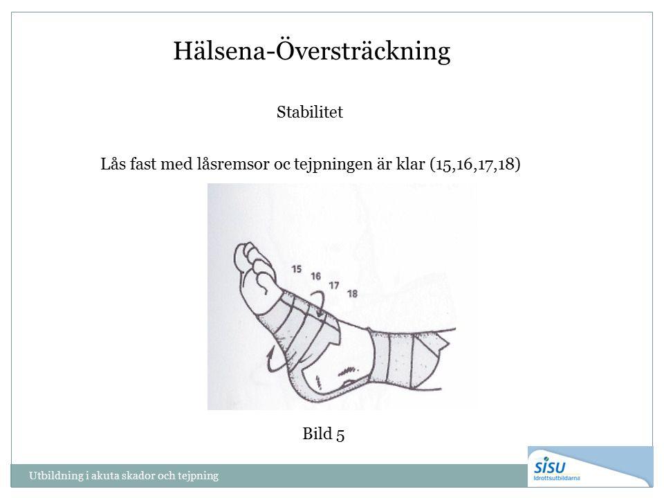 Utbildning i akuta skador och tejpning Bild 5 Hälsena-Översträckning Stabilitet Lås fast med låsremsor oc tejpningen är klar (15,16,17,18)