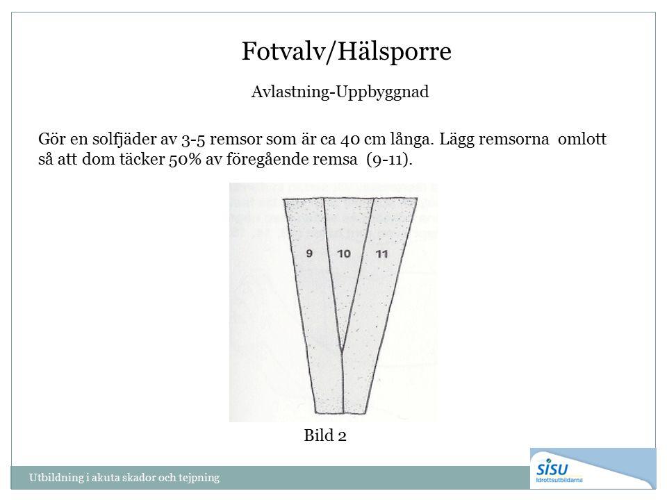 Utbildning i akuta skador och tejpning Bild 2 Fotvalv/Hälsporre Avlastning-Uppbyggnad Gör en solfjäder av 3-5 remsor som är ca 40 cm långa. Lägg remso