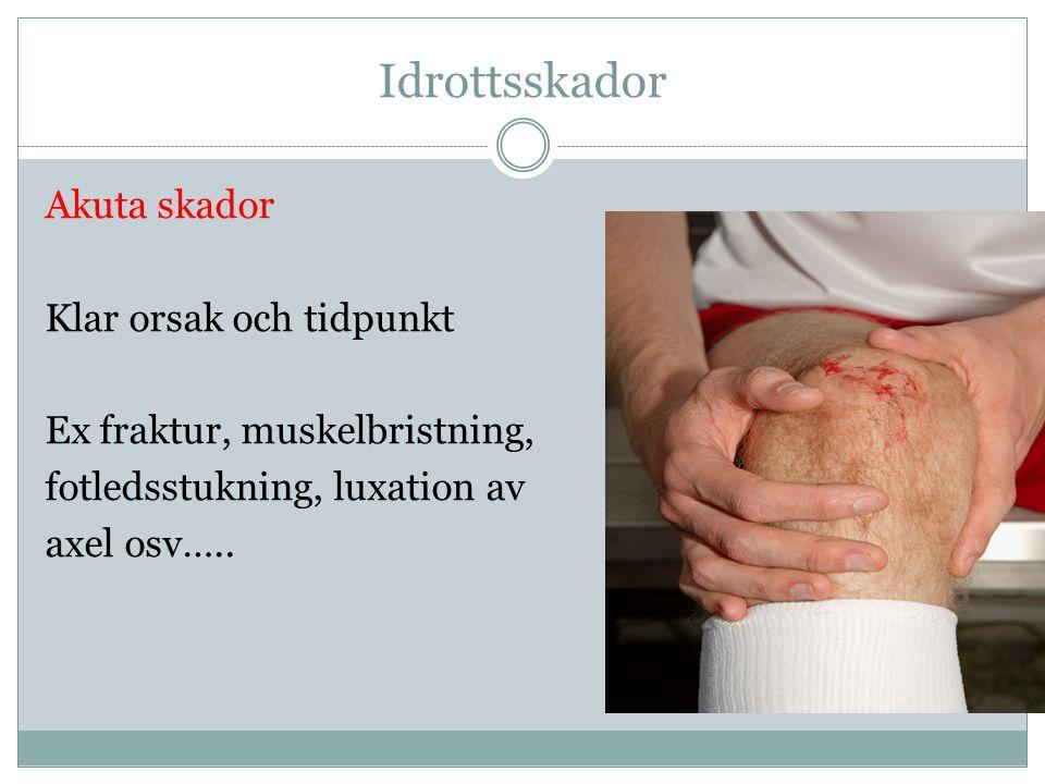Idrottsskador Akuta skador Klar orsak och tidpunkt Ex fraktur, muskelbristning, fotledsstukning, luxation av axel osv…..