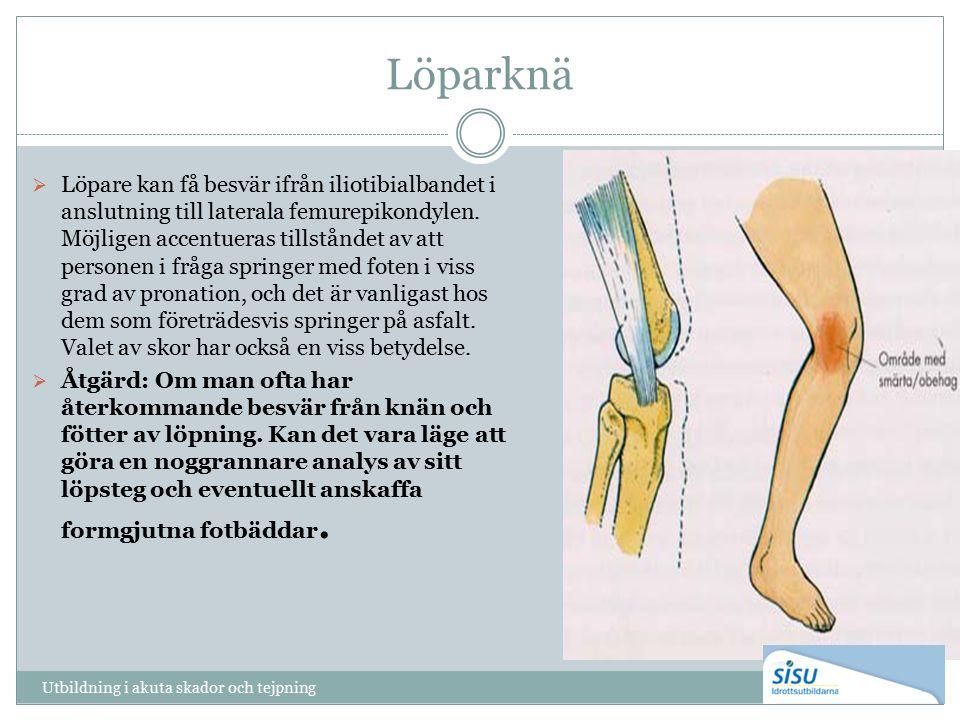 Löparknä  Löpare kan få besvär ifrån iliotibialbandet i anslutning till laterala femurepikondylen. Möjligen accentueras tillståndet av att personen i