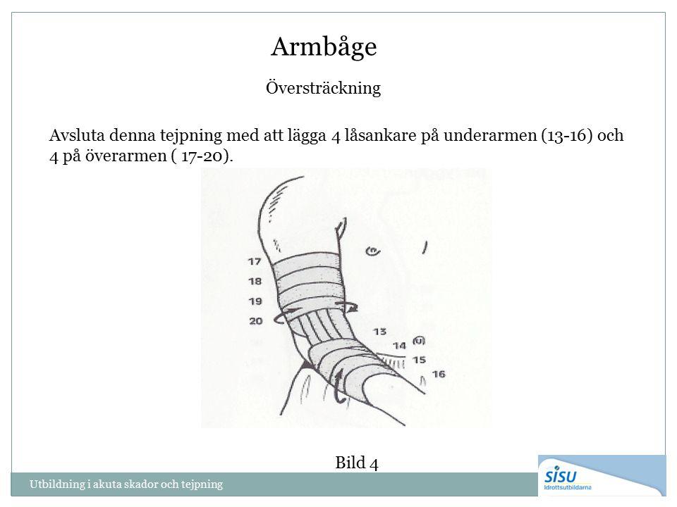 Armbåge Översträckning Utbildning i akuta skador och tejpning Avsluta denna tejpning med att lägga 4 låsankare på underarmen (13-16) och 4 på överarme