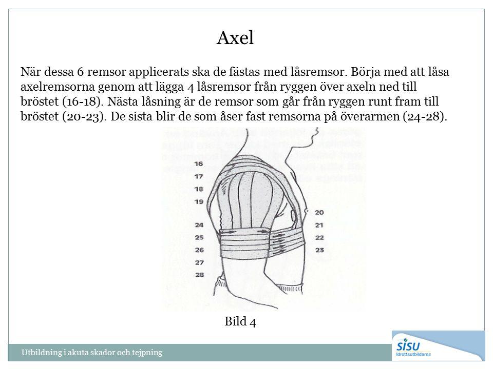 Utbildning i akuta skador och tejpning Bild 4 Axel När dessa 6 remsor applicerats ska de fästas med låsremsor. Börja med att låsa axelremsorna genom a