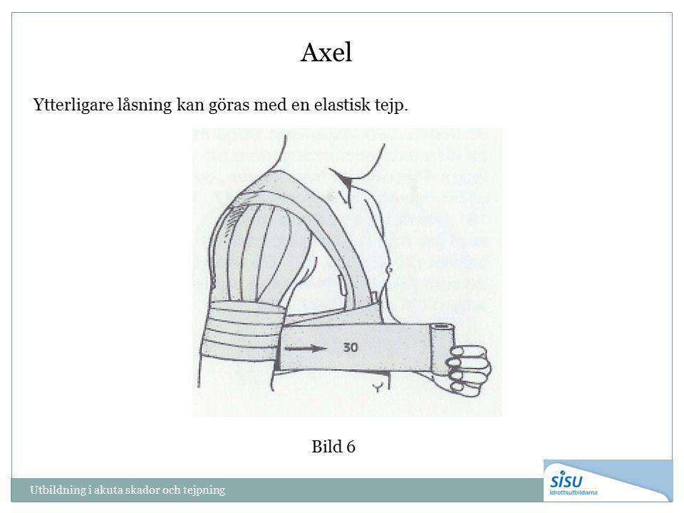 Utbildning i akuta skador och tejpning Bild 6 Axel Ytterligare låsning kan göras med en elastisk tejp.