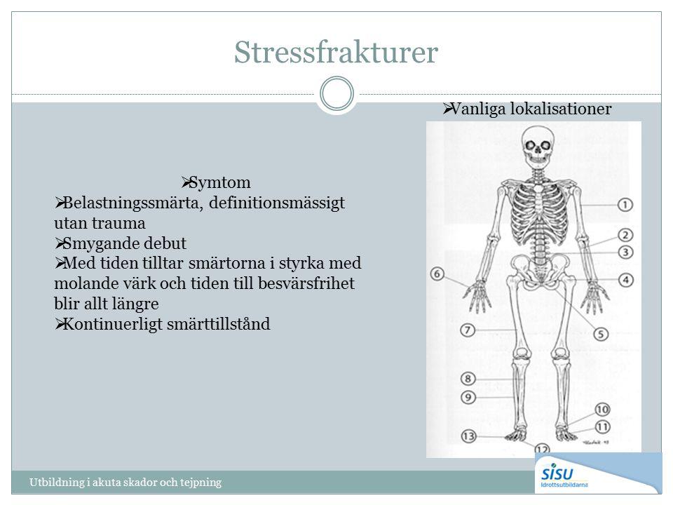 Stressfrakturer Utbildning i akuta skador och tejpning  Vanliga lokalisationer  Symtom  Belastningssmärta, definitionsmässigt utan trauma  Smygand