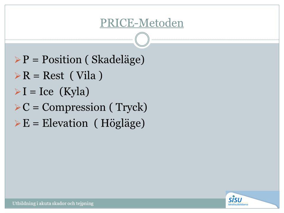 PRICE-Metoden  P = Position ( Skadeläge)  R = Rest ( Vila )  I = Ice (Kyla)  C = Compression ( Tryck)  E = Elevation ( Högläge) Utbildning i akuta skador och tejpning