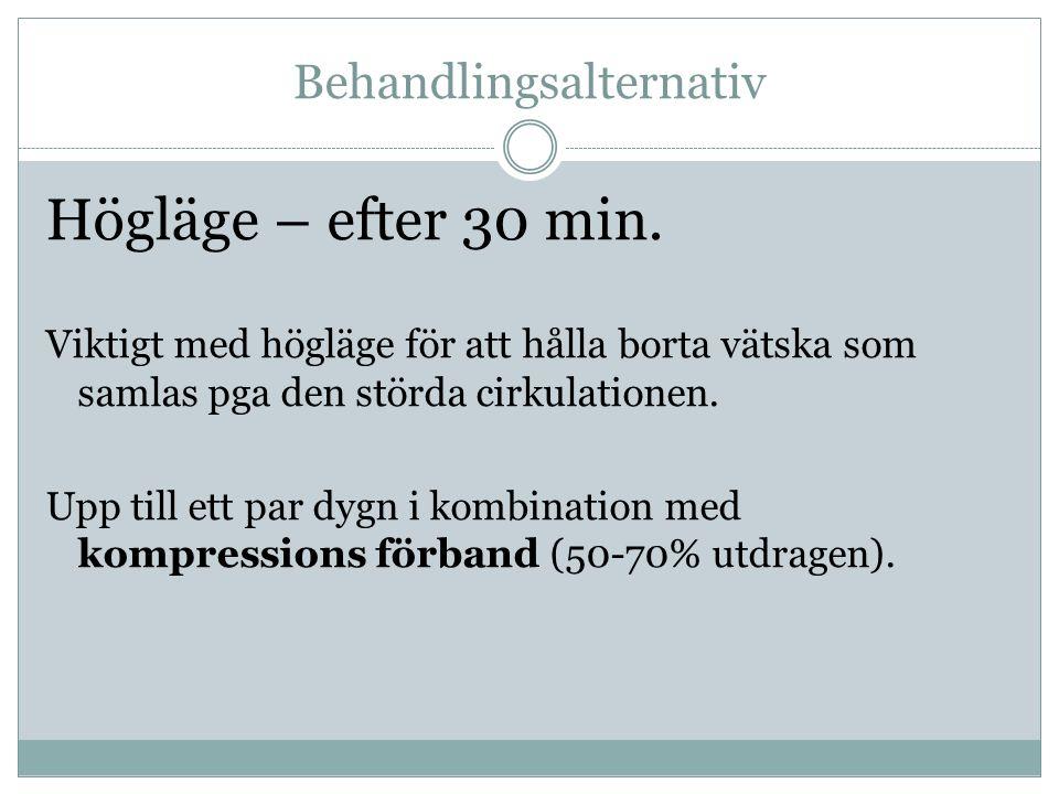 Behandlingsalternativ Högläge – efter 30 min.