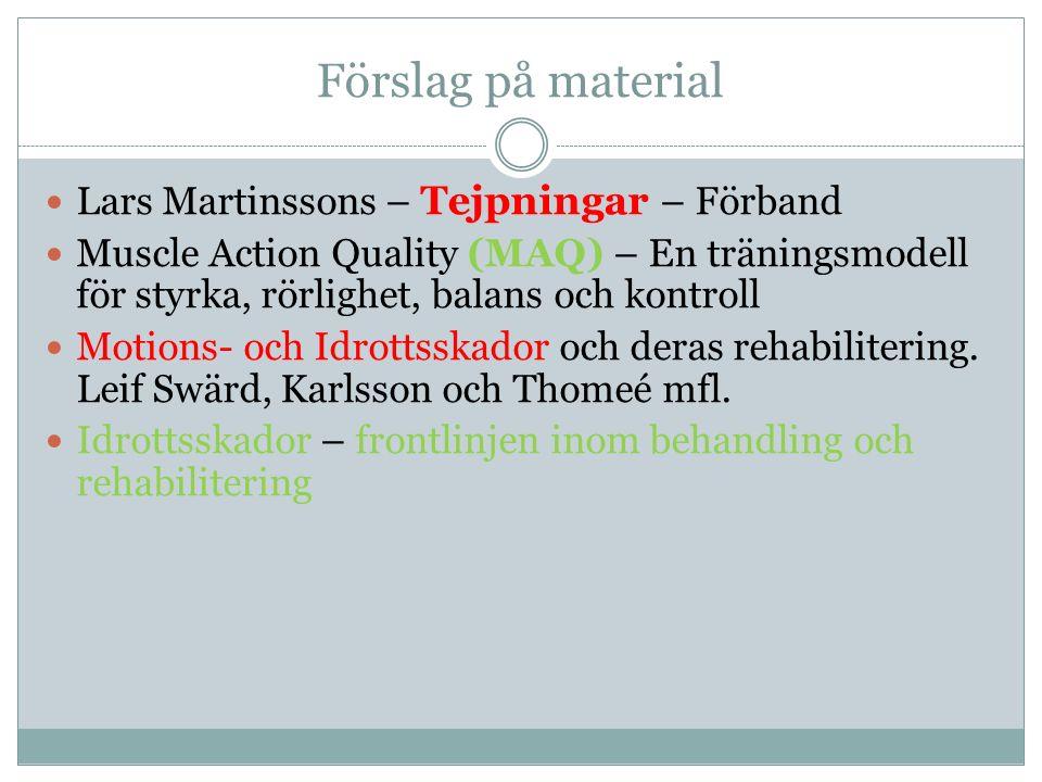 Förslag på material Lars Martinssons – Tejpningar – Förband Muscle Action Quality (MAQ) – En träningsmodell för styrka, rörlighet, balans och kontroll Motions- och Idrottsskador och deras rehabilitering.