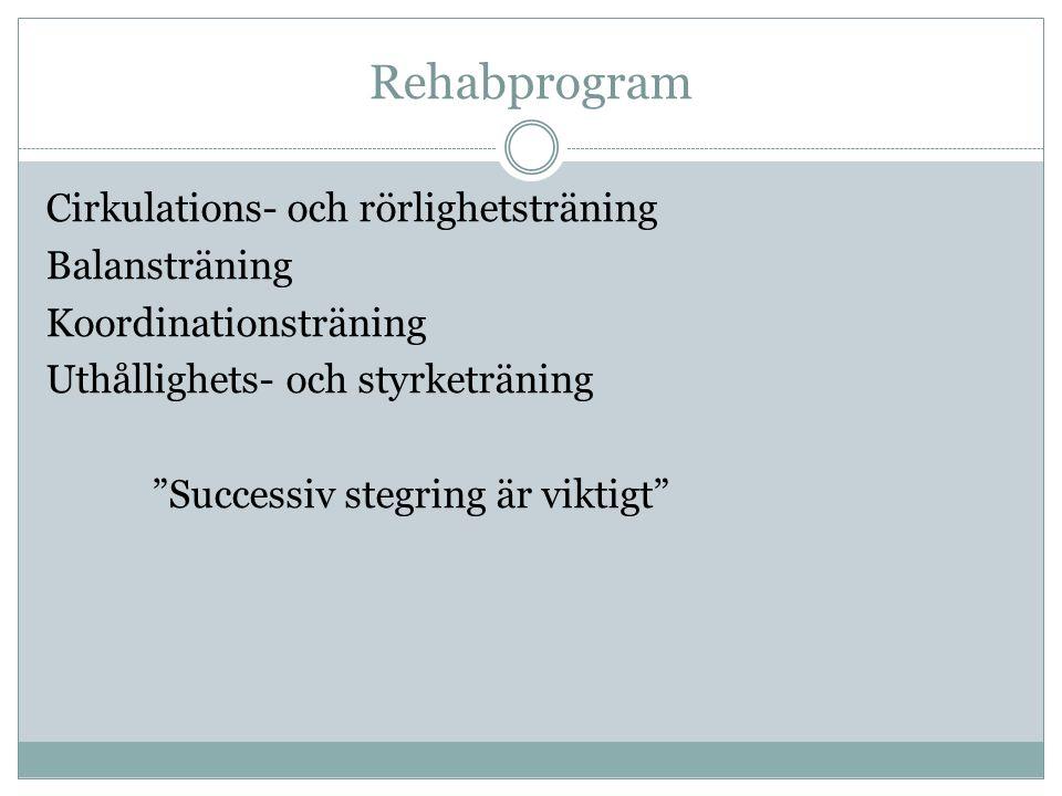 Rehabprogram Cirkulations- och rörlighetsträning Balansträning Koordinationsträning Uthållighets- och styrketräning Successiv stegring är viktigt