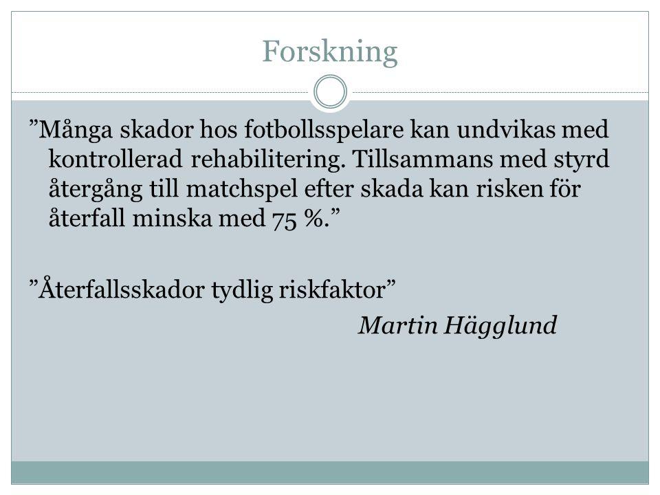 Forskning Många skador hos fotbollsspelare kan undvikas med kontrollerad rehabilitering.