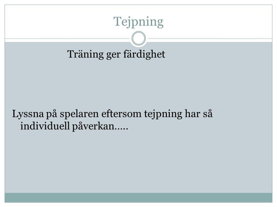 Tejpning Träning ger färdighet Lyssna på spelaren eftersom tejpning har så individuell påverkan…..