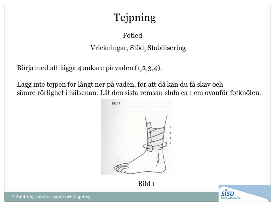 Tejpning Fotled Vrickningar, Stöd, Stabilisering Börja med att lägga 4 ankare på vaden (1,2,3,4).