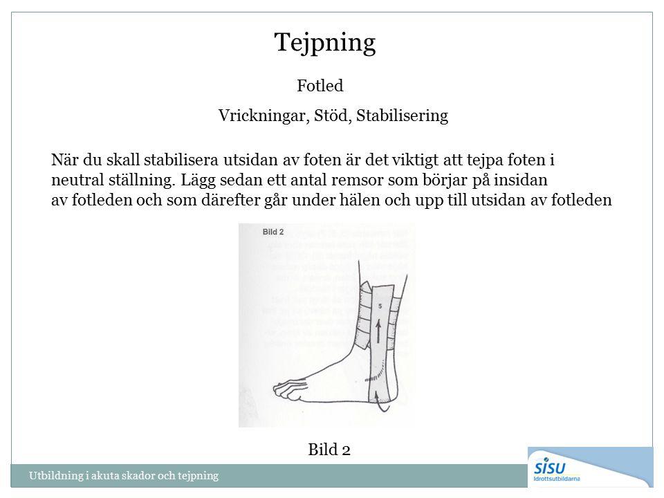 Tejpning Fotled Vrickningar, Stöd, Stabilisering När du skall stabilisera utsidan av foten är det viktigt att tejpa foten i neutral ställning.