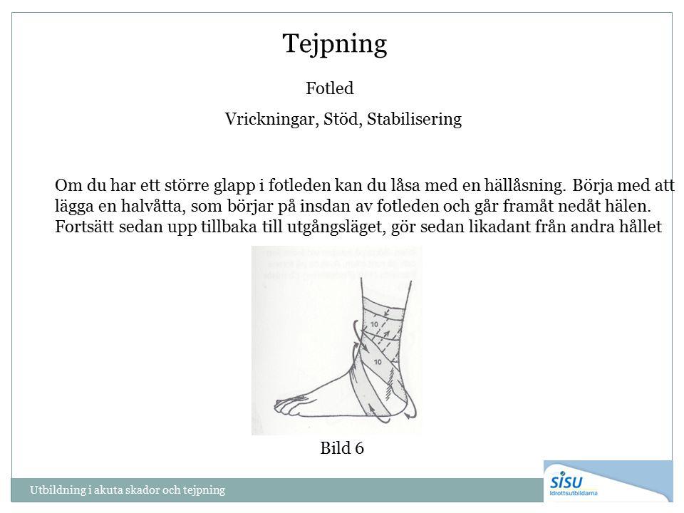 Tejpning Fotled Vrickningar, Stöd, Stabilisering Om du har ett större glapp i fotleden kan du låsa med en hällåsning. Börja med att lägga en halvåtta,