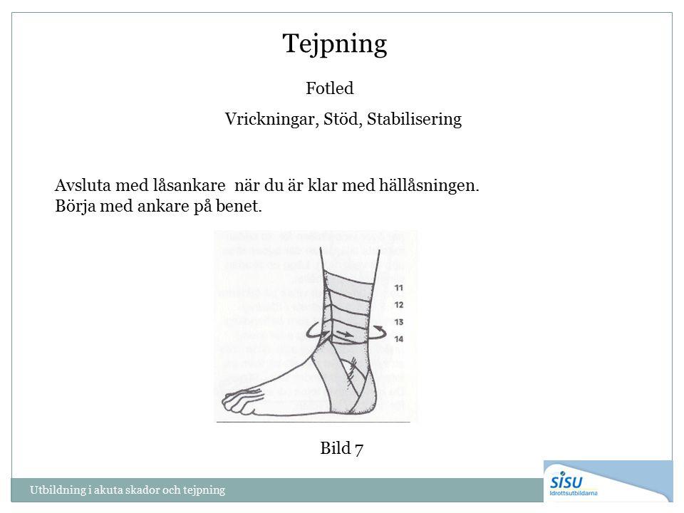 Tejpning Fotled Vrickningar, Stöd, Stabilisering Avsluta med låsankare när du är klar med hällåsningen. Börja med ankare på benet. Bild 7 Utbildning i