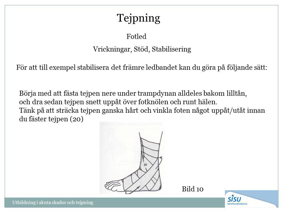 Tejpning Fotled Vrickningar, Stöd, Stabilisering Bild 10 För att till exempel stabilisera det främre ledbandet kan du göra på följande sätt: Börja med