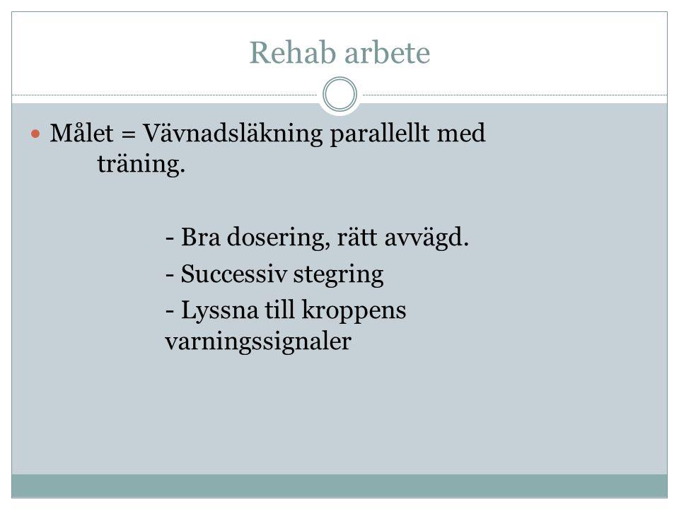 Rehab arbete Målet = Vävnadsläkning parallellt med träning. - Bra dosering, rätt avvägd. - Successiv stegring - Lyssna till kroppens varningssignaler