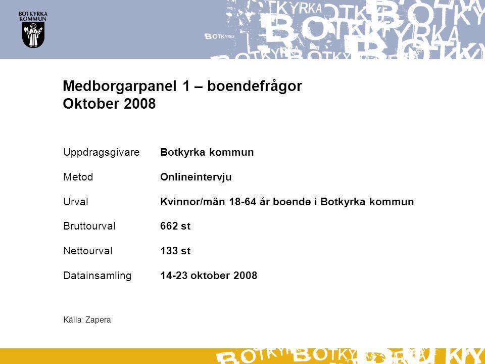 Medborgarpanel 1 – boendefrågor Oktober 2008 UppdragsgivareBotkyrka kommun MetodOnlineintervju Urval Kvinnor/män 18-64 år boende i Botkyrka kommun Bru