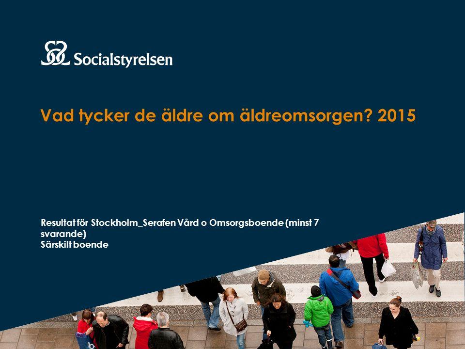 Vad tycker de äldre om äldreomsorgen? 2015 Resultat för Stockholm_Serafen Vård o Omsorgsboende (minst 7 svarande) Särskilt boende