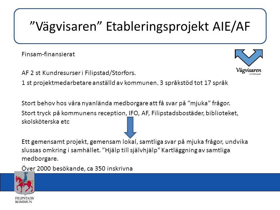 Finsam-finansierat AF 2 st Kundresurser i Filipstad/Storfors. 1 st projektmedarbetare anställd av kommunen. 3 språkstöd tot 17 språk Stort behov hos v