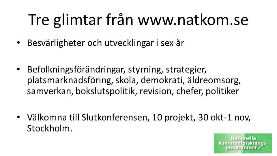 Tre glimtar från www.natkom.se Besvärligheter och utvecklingar i sex år Befolkningsförändringar, styrning, strategier, platsmarknadsföring, skola, demokrati, äldreomsorg, samverkan, bokslutspolitik, revision, chefer, politiker Välkomna till Slutkonferensen, 10 projekt, 30 okt-1 nov, Stockholm.
