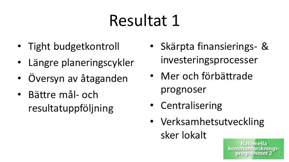 Resultat 1 Tight budgetkontroll Längre planeringscykler Översyn av åtaganden Bättre mål- och resultatuppföljning Skärpta finansierings- & investeringsprocesser Mer och förbättrade prognoser Centralisering Verksamhetsutveckling sker lokalt