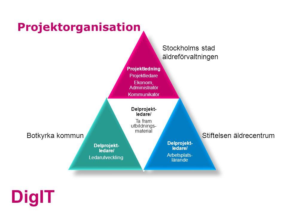 DigIT Projektorganisation Projektledning Projektledare Ekonom, Administratör Kommunikatör Delprojekt- ledare/ Ledarutveckling Delprojekt- ledare/ Ta f