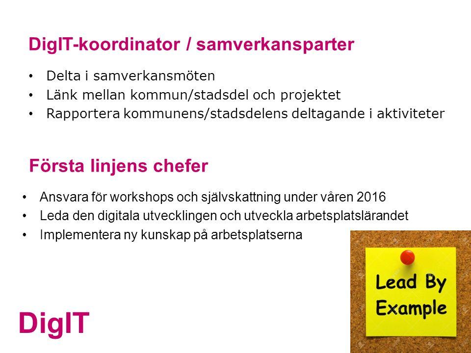 DigIT DigIT-koordinator / samverkansparter Delta i samverkansmöten Länk mellan kommun/stadsdel och projektet Rapportera kommunens/stadsdelens deltagan