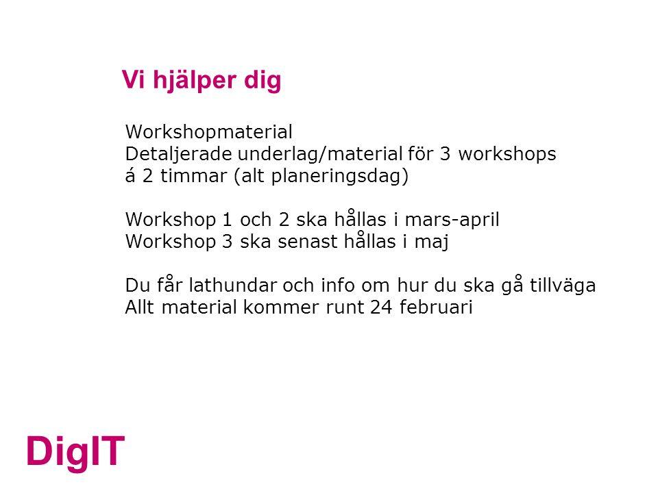 DigIT Vi hjälper dig Workshopmaterial Detaljerade underlag/material för 3 workshops á 2 timmar (alt planeringsdag) Workshop 1 och 2 ska hållas i mars-