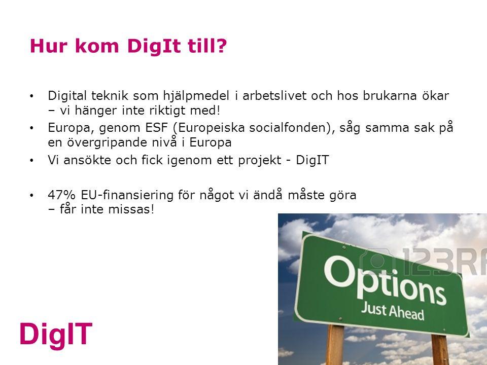 DigIT Hur kom DigIt till? Digital teknik som hjälpmedel i arbetslivet och hos brukarna ökar – vi hänger inte riktigt med! Europa, genom ESF (Europeisk