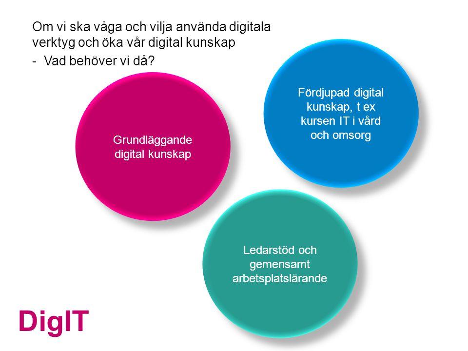 DigIT Fördjupad digital kunskap, t ex kursen IT i vård och omsorg Grundläggande digital kunskap Om vi ska våga och vilja använda digitala verktyg och öka vår digital kunskap - Vad behöver vi då.
