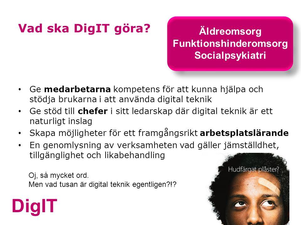 DigIT Vad ska DigIT göra? Ge medarbetarna kompetens för att kunna hjälpa och stödja brukarna i att använda digital teknik Ge stöd till chefer i sitt l