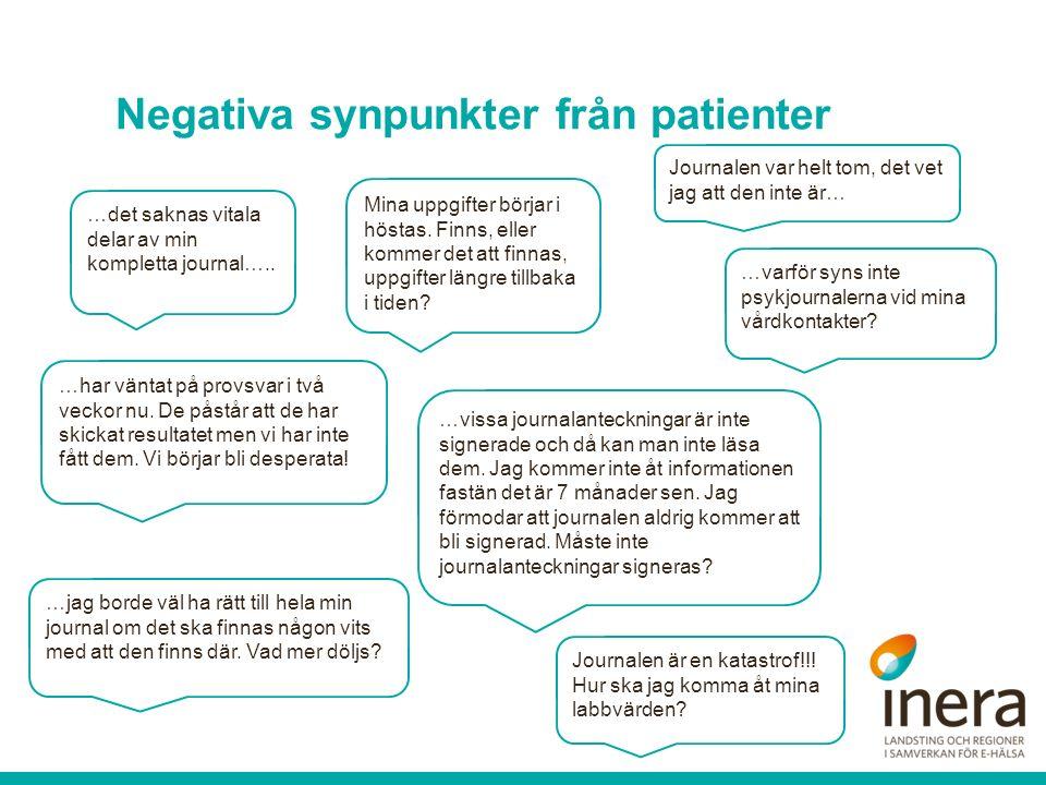 Negativa synpunkter från patienter …det saknas vitala delar av min kompletta journal….. Mina uppgifter börjar i höstas. Finns, eller kommer det att fi