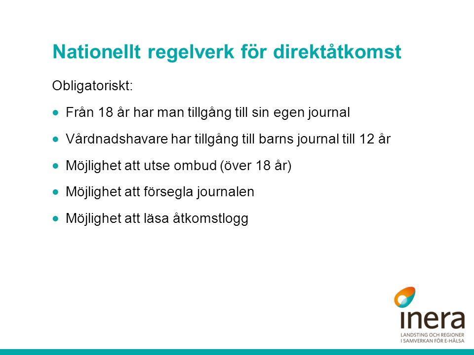 Nationellt regelverk för direktåtkomst Obligatoriskt:  Från 18 år har man tillgång till sin egen journal  Vårdnadshavare har tillgång till barns jou