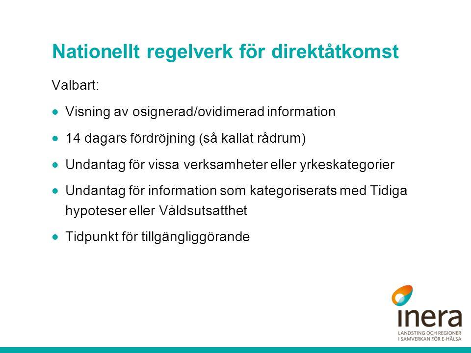 Nationellt regelverk för direktåtkomst Valbart:  Visning av osignerad/ovidimerad information  14 dagars fördröjning (så kallat rådrum)  Undantag fö