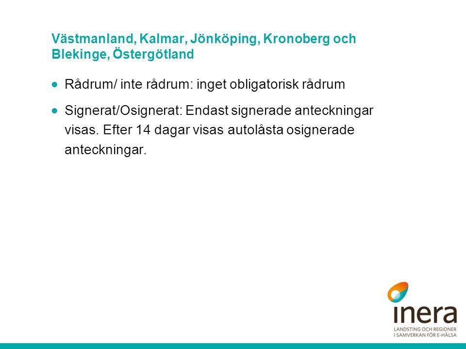 Västmanland, Kalmar, Jönköping, Kronoberg och Blekinge, Östergötland  Rådrum/ inte rådrum: inget obligatorisk rådrum  Signerat/Osignerat: Endast sig