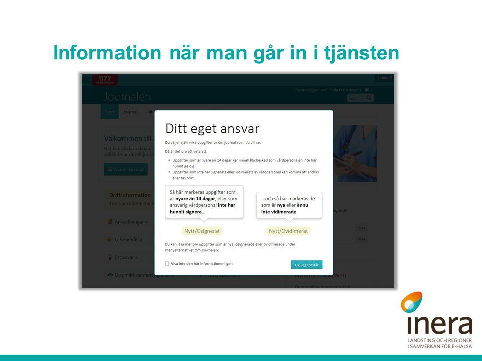 Information när man går in i tjänsten
