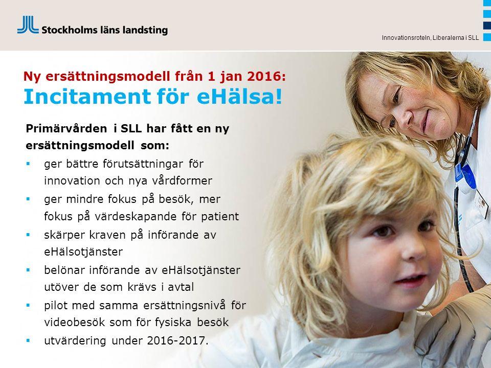 Ny ersättningsmodell från 1 jan 2016: Incitament för eHälsa! Innovationsroteln, Liberalerna i SLL Primärvården i SLL har fått en ny ersättningsmodell