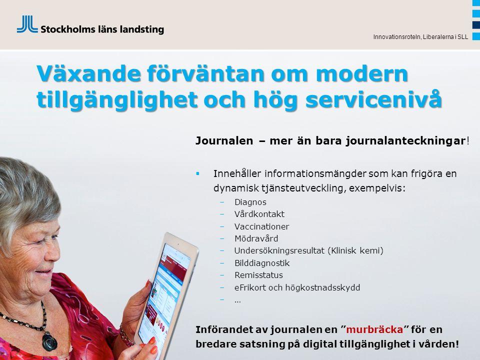 Innovationsroteln, Liberalerna i SLL Växande förväntan om modern tillgänglighet och hög servicenivå Journalen – mer än bara journalanteckningar!  Inn