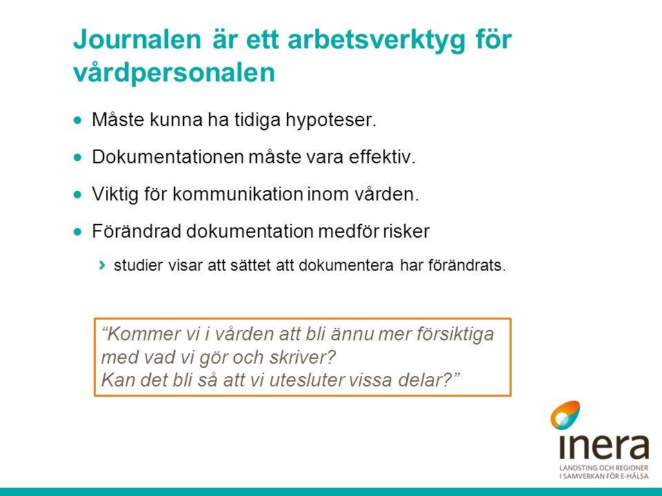 Journalen är ett arbetsverktyg för vårdpersonalen  Måste kunna ha tidiga hypoteser.  Dokumentationen måste vara effektiv.  Viktig för kommunikation