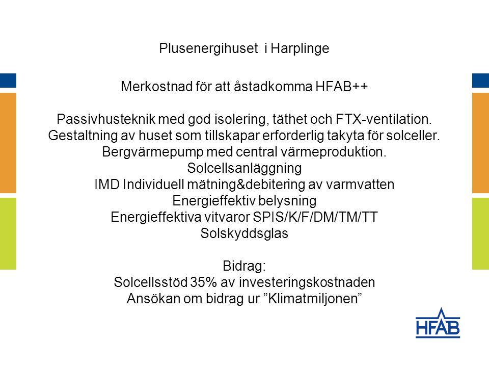 Merkostnad för att åstadkomma HFAB++ Passivhusteknik med god isolering, täthet och FTX-ventilation.