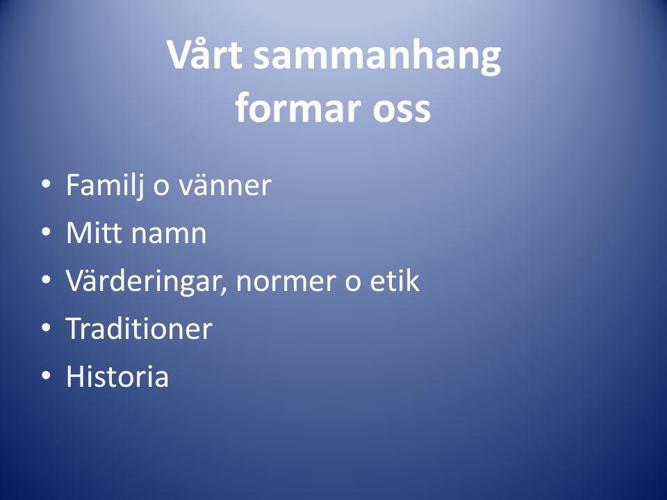 Vårt sammanhang formar oss Familj o vänner Mitt namn Värderingar, normer o etik Traditioner Historia