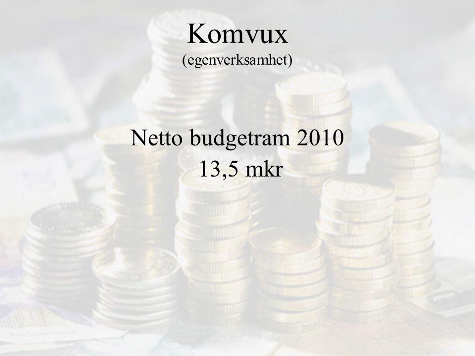 Komvux (egenverksamhet) Netto budgetram 2010 13,5 mkr